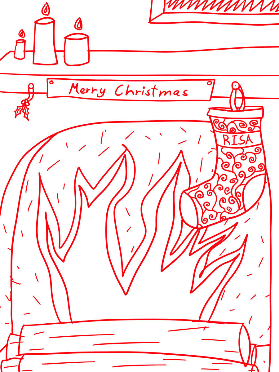 Christmas Fireplace Sketch by Margie22