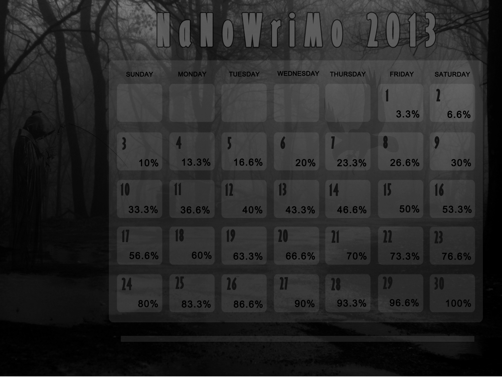S. M. Worth: NaNoWriMo 2013 Calendar Wallpapers