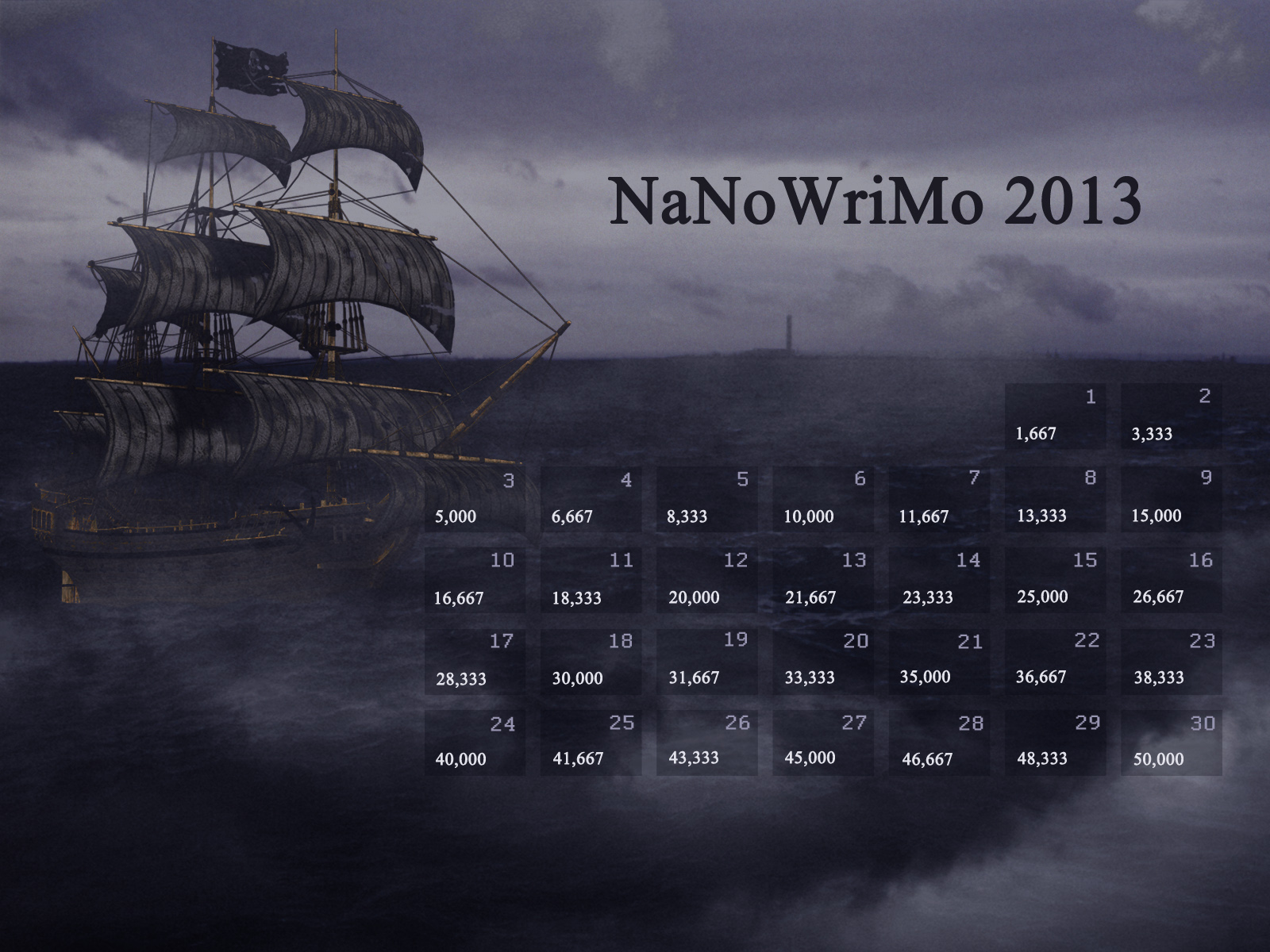 NaNoWriMo 2013 Calendar by Kiriska on DeviantArt