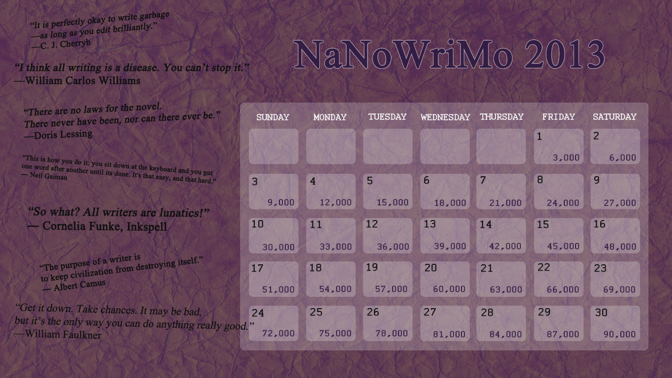 Camp NaNoWriMo 2013 Calendar by SomeSortOfWonderful on DeviantArt
