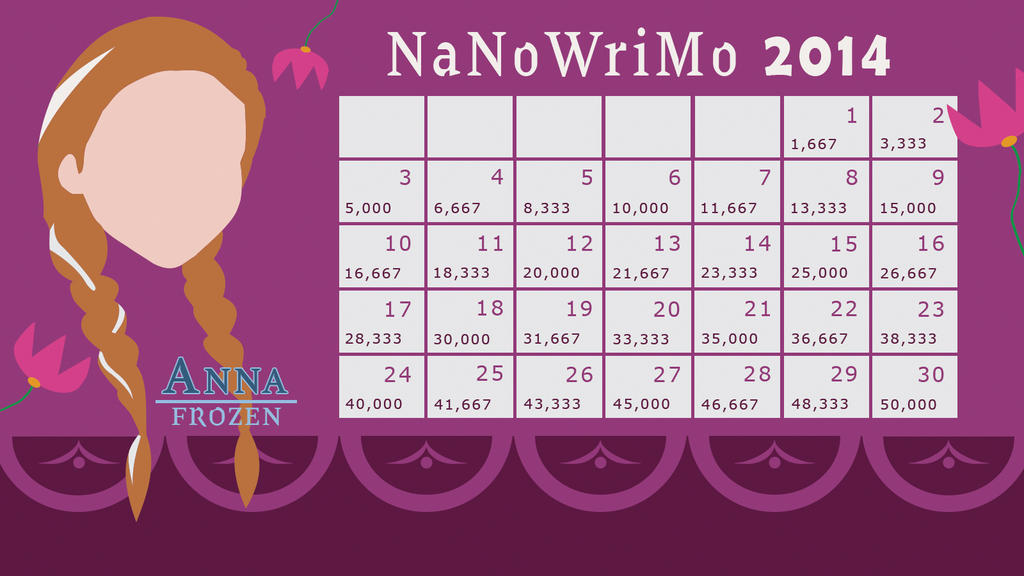 Anna from Frozen - 2014 NaNoWriMo Calendar by Margie22