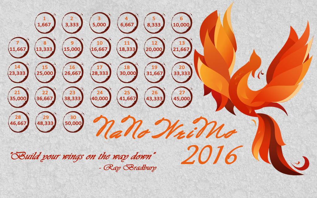 2016 NaNo Calendar - fingersxxcrossed by Margie22