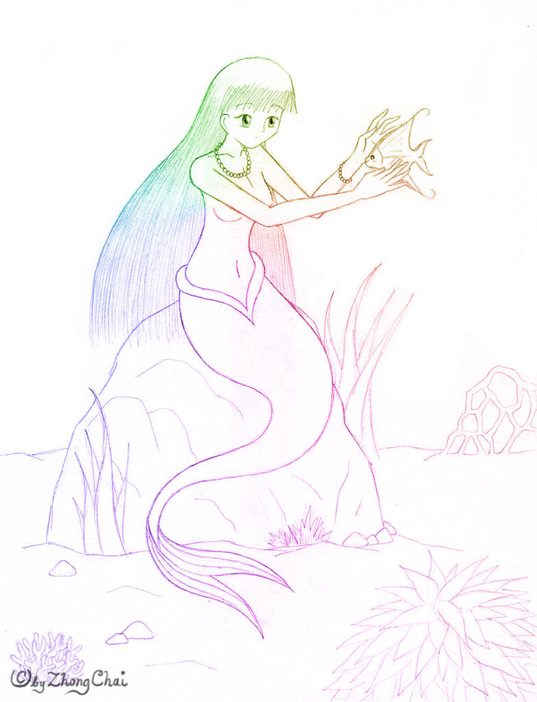 how to draw a beautiful mermaid