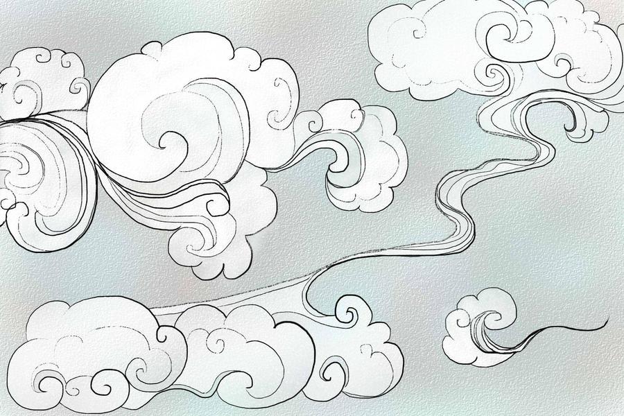 Oriental Cloud Drawing | Oriental Clouds by gkelleh on ...