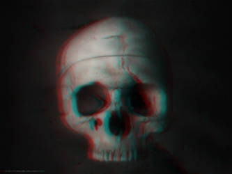 3d Anaglyph skull by DistrictAliens