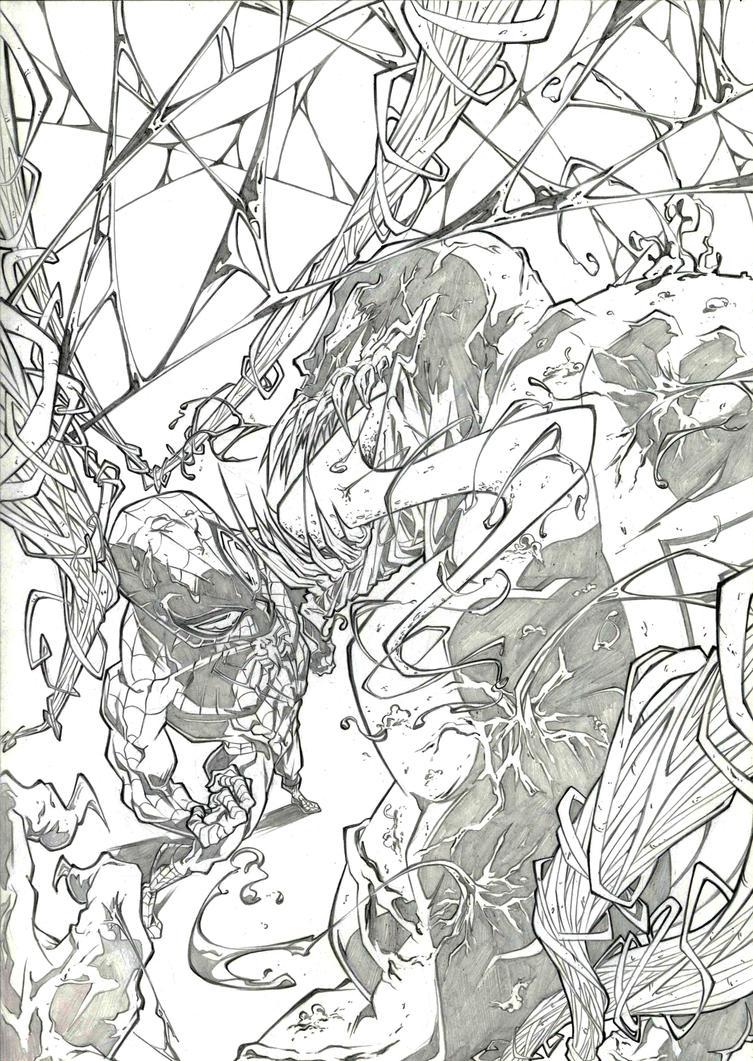 Spiderman vs venom by marvelmania on deviantart for Spiderman vs venom coloring pages