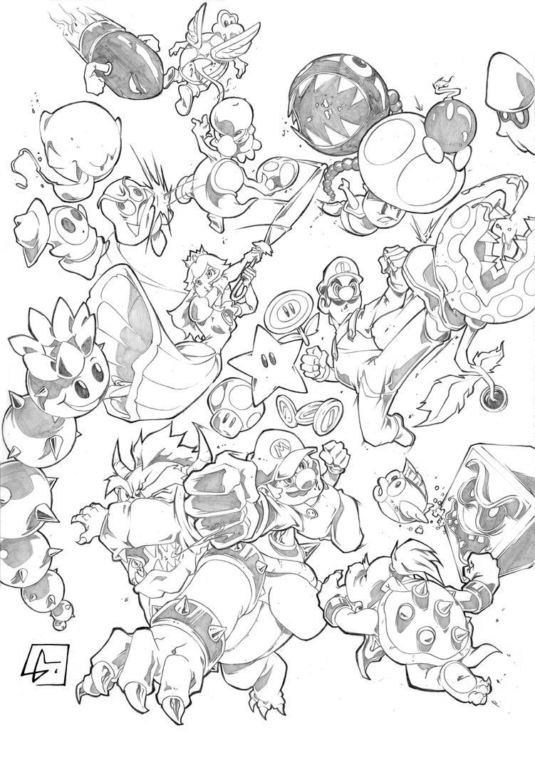 Super Mario and Friend vs Enemies by marvelmania