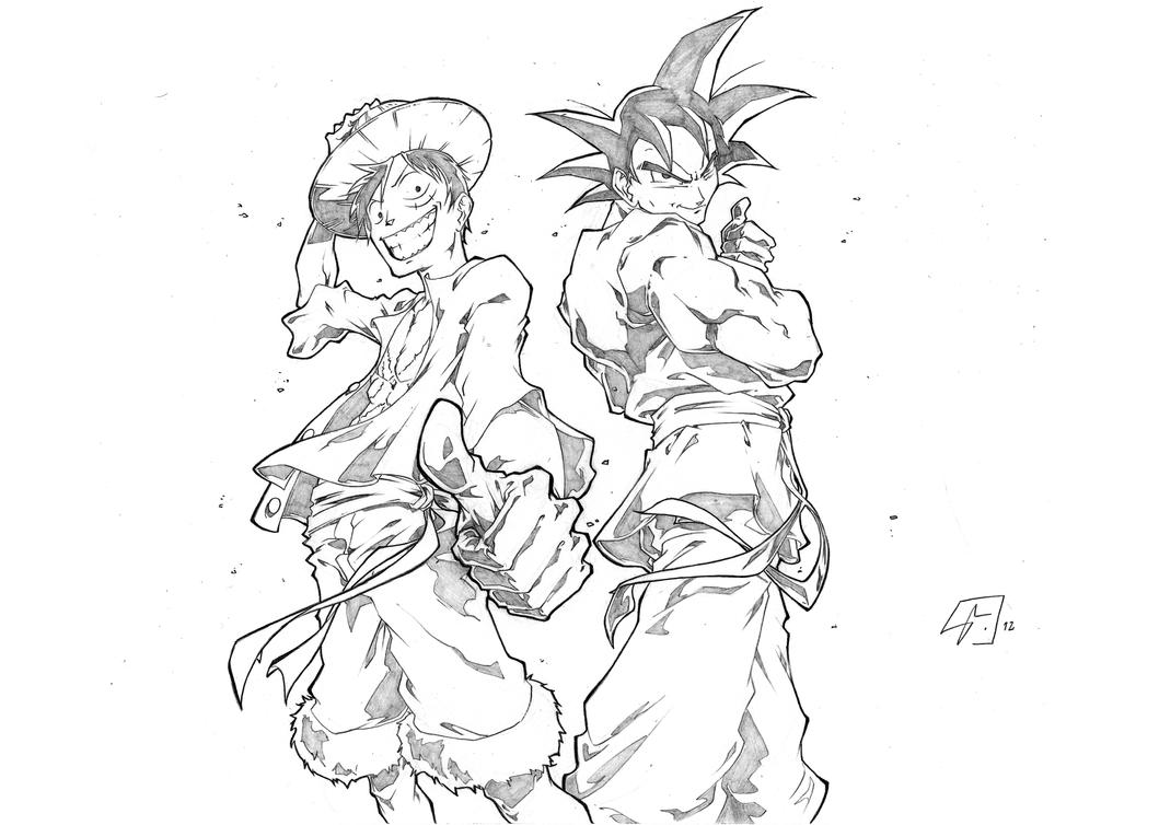 Luffy vs goku coloring pages sketch coloring page - One piece a imprimer ...