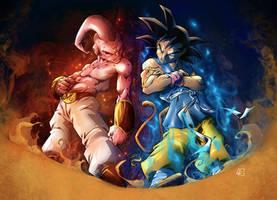 Buu vs Goku colored