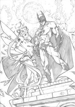Batman with Sailor Moon Commission