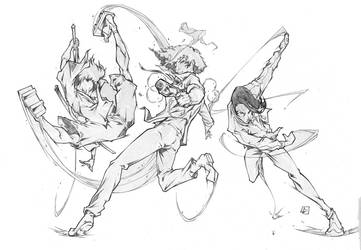 Mugen, Spike and Dandy by marvelmania