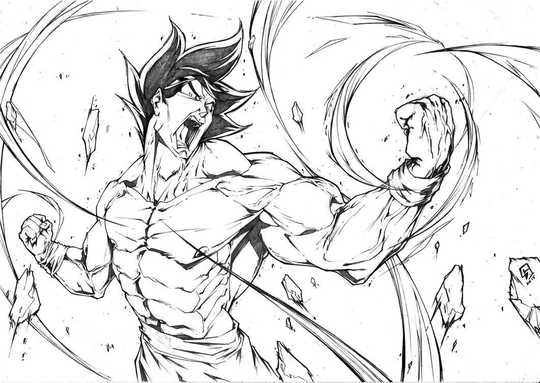 Son Goku Fighting Mode Dragon ball by marvelmania