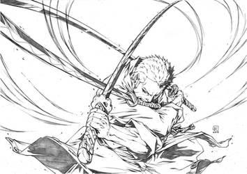 Ruronoa Zoro 3 Swords Attack by marvelmania