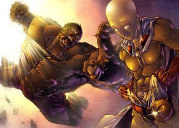 Hulk vs Saitama color by marvelmania