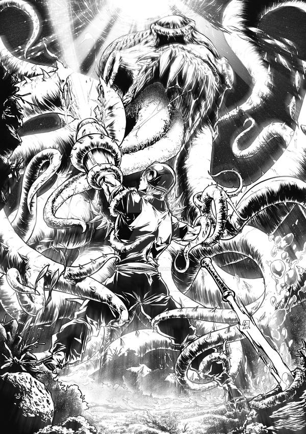 Commission Octopus attack Michael Walton by marvelmania