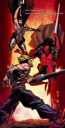 CLOUD (FFVII) vs RED (Hellboy) vs GUTS (Berserk) by marvelmania