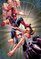 SPIDERMAN (Marvel) vs LUFFY (One Piece) Collab by marvelmania