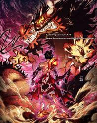 LUFFY (samurai mode) vs KAIDO (dragon form) by marvelmania