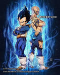 COMMISSION for a bodybuilder next to Vegeta
