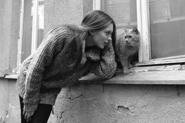 A girl and a cat