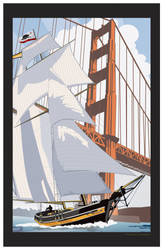 Schooner Sailing in the Golden Gate by MercenaryGraphics