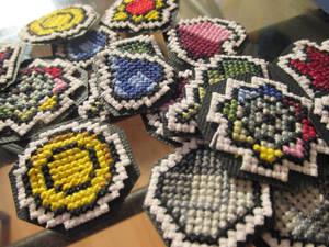 Cross Stitched Kanto Badges