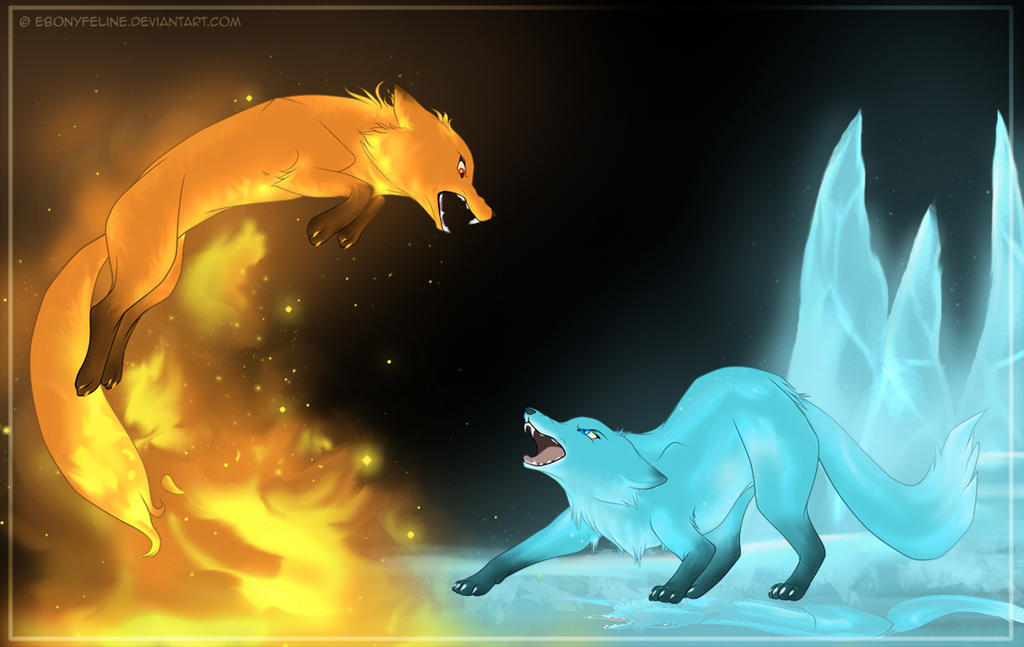 Fire And Water Wolf Fighting