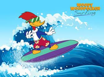 Woody Woodpecker Surfing by MarkDekaBreak