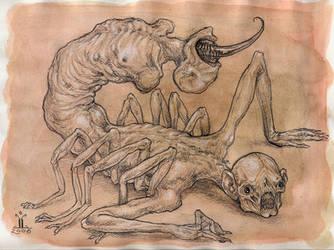 the scorpion man by larkin-art