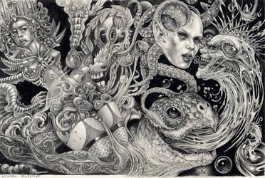 E.C with A-Neon-Devil-Breath by larkin-art