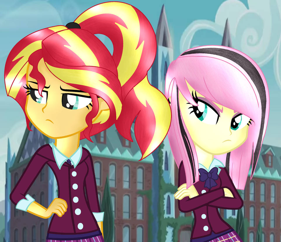 MLP Shadowbolts Sunset Shimmer And Fluttershy By