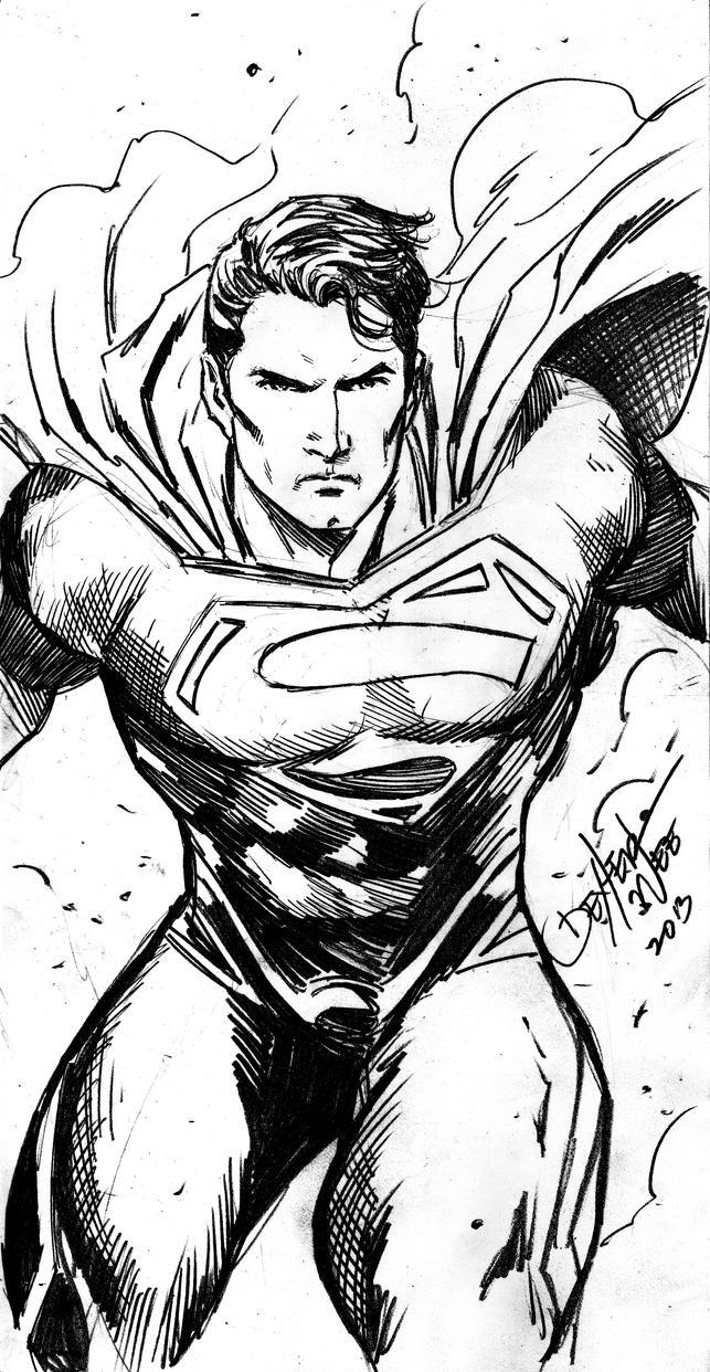 Line Art Vs Sketch : Superman sketch by dexterwee on deviantart