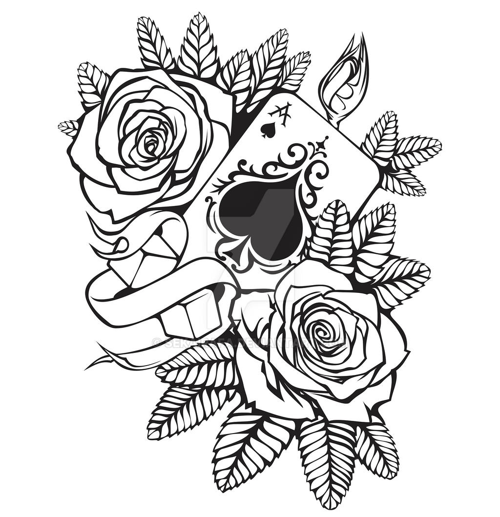 Line Drawing Tattoo Artists : Casino tattoo lineart by sekairafa on deviantart