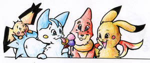 Pachirisu, Buizel and co by Pinkie-Pichu
