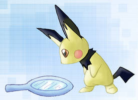Pichu loking in a mirror by Pinkie-Pichu