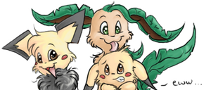 Pinkie, Cliochu and Leafeon by Pinkie-Pichu