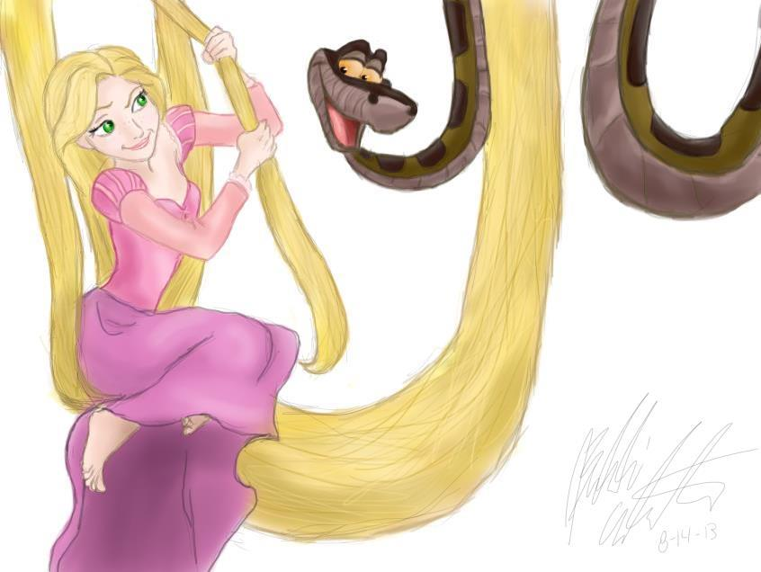Rapunzel and Kaa by bookxworm89