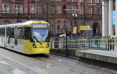 Manchester Trams With St Peter' Square sign by electronincantation