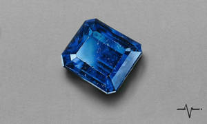 Realistic Scratched Sapphire Gemstone - Drawing