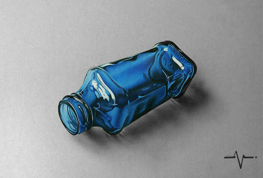 Blue Glass bottle - Realistic Drawing