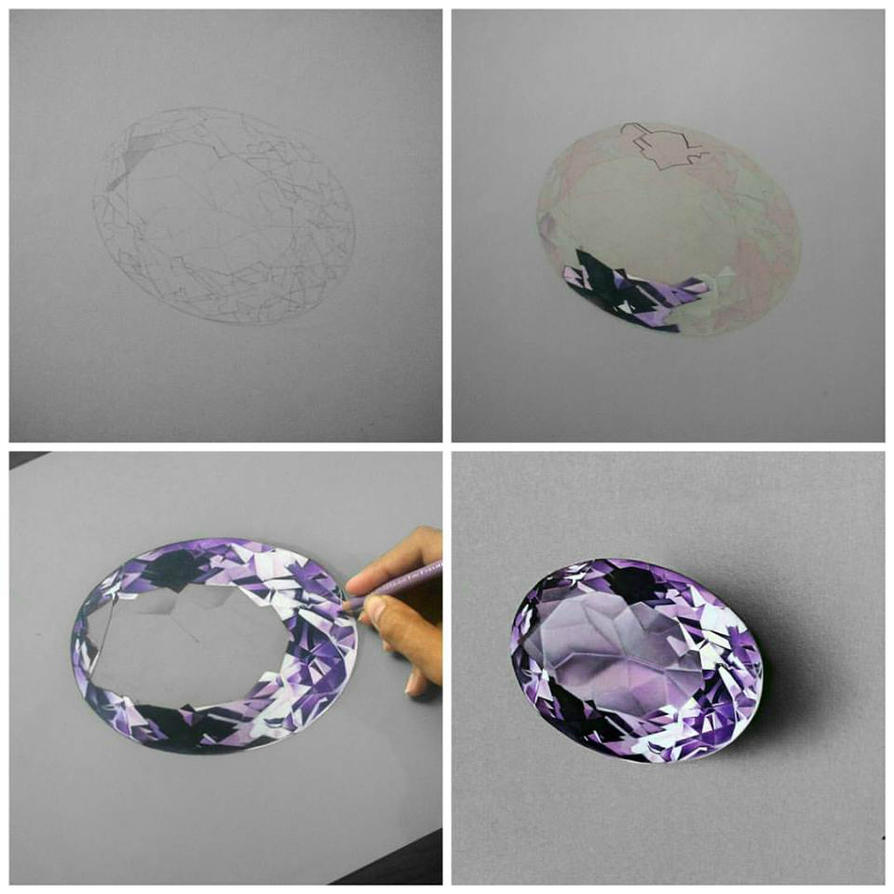 Amethyst Gemstone - Drawing Phases by Anubhavg