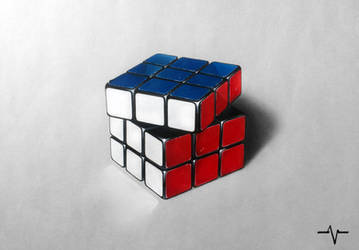 Rubik's Cube - Realistic drawing by Anubhavg