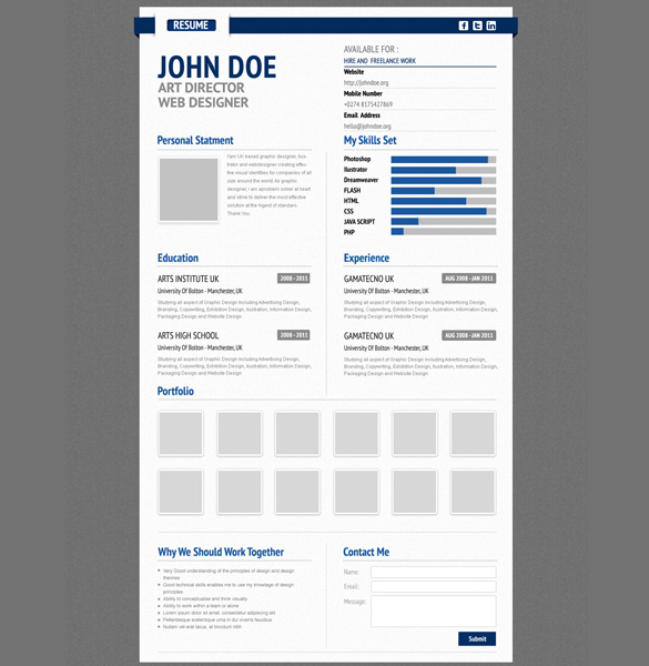 free professional resume psd cv template by shinydice on