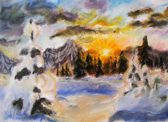 Winter sunset by Kitanokata