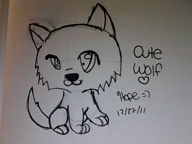 Cute Simple Line Art : Cute chibi wolf drawing by intricating on deviantart