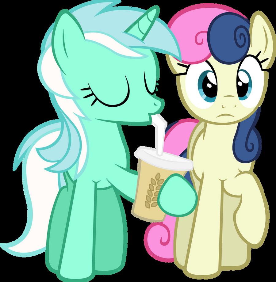 Lyra drinking with Bon-bon Vector by ArtPwny