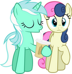 Lyra drinking with Bon-bon Vector