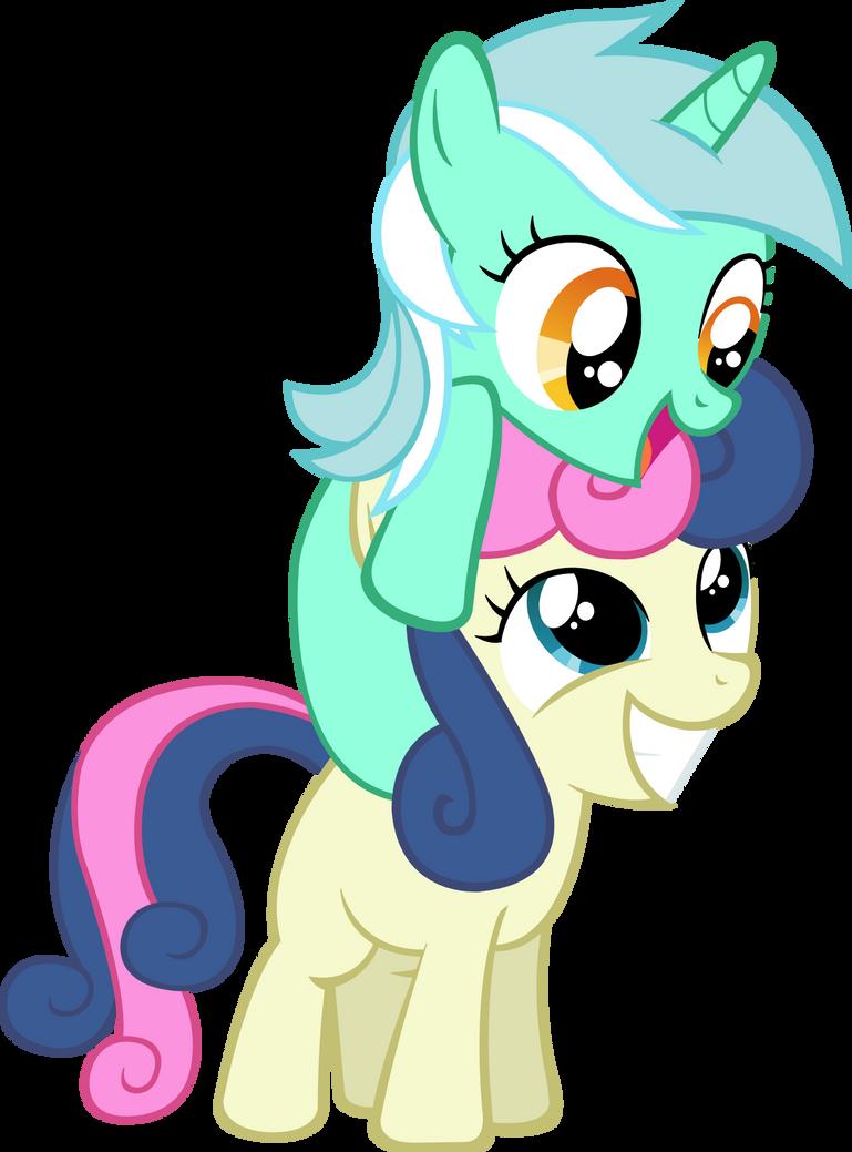 Filly Lyra and Bon-bon Vector by ArtPwny