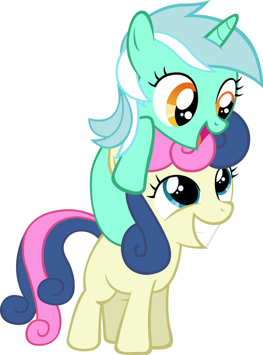 Filly Lyra and Bon-bon Vector by ArtPwny