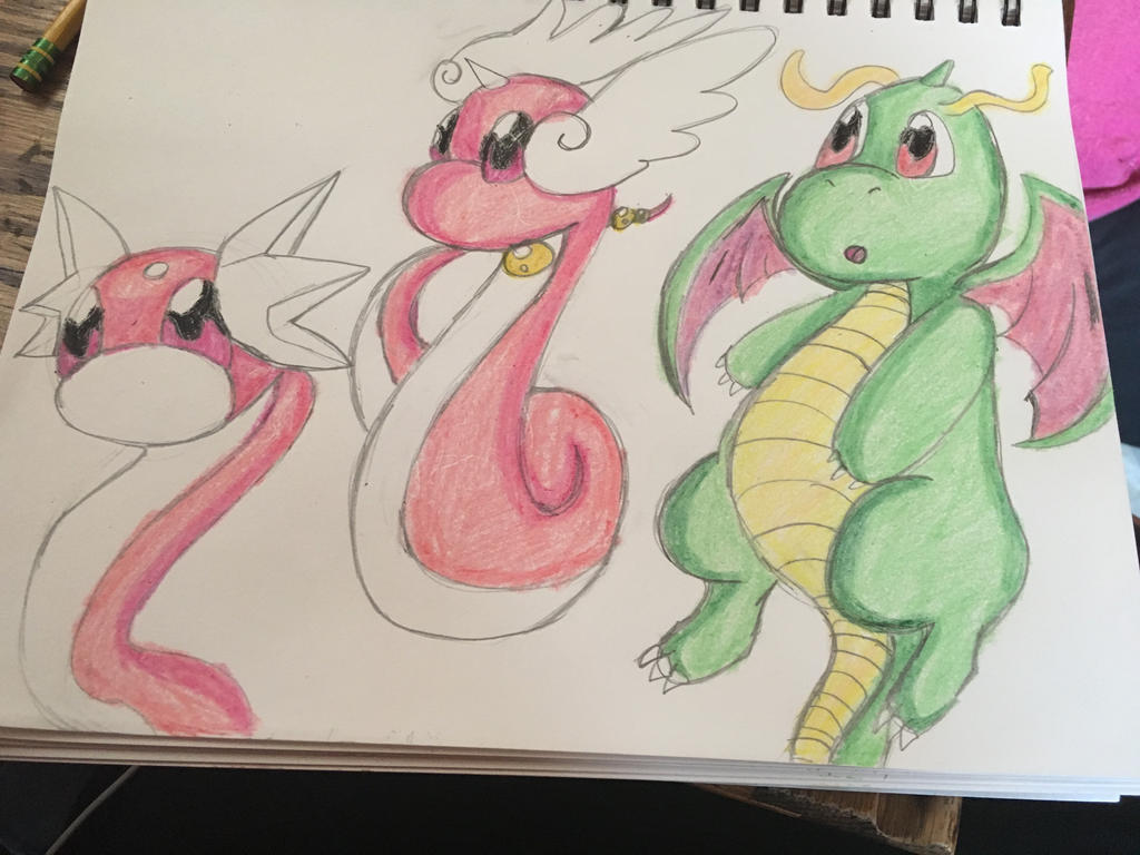 Shiny Dratini dragonair and dragonite by celebi64